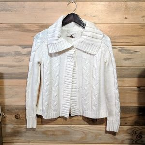 Sonoma Off White Cable Knit Sweater Cardigan Small